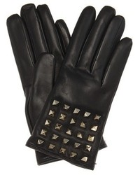Valentino Rockstud Cashmere Lined Leather Gloves