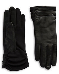 Lord & Taylor Ruched Leather Tech Gloves