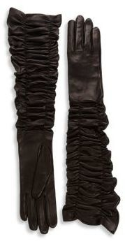 Alexander McQueen Ruched Long Leather Gloves