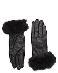 Saks Fifth Avenue Fur Trimmed Leather Gloves