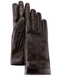 Gucci Signature Leather Gloves Black