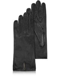 Forzieri Stitched Cashmere Lined Black Italian Leather Gloves