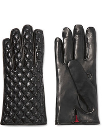 Valentino Studded Quilted Smooth And Glossed Textured Leather Gloves Black