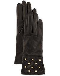 Portolano Studded Stripe Detail Leather Gloves Black