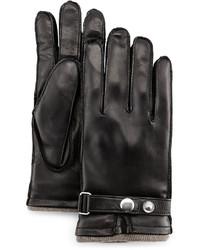 Grandoe Tabbed Leather Gloves Black