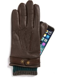 Calvin Klein Button Snap Tab Leather Gloves Where To Buy