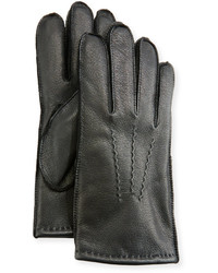 Neiman Marcus Three Point Stitch Leather Gloves Black