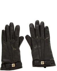 Tory Burch Bow Accented Leather Gloves