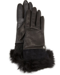 UGG Quinn Leather Fur Cuff Tech Gloves Black