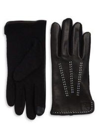 Lauren Ralph Lauren Wool Blend And Leather Touch Gloves