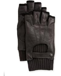 John Varvatos Wool Lined Leather Fingerless Gloves Black
