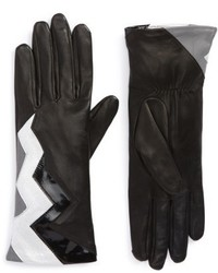 Agnelle Zigzag Lambskin Leather Gloves