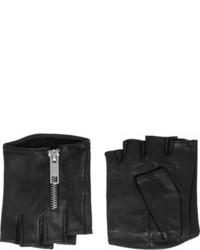 Karl Lagerfeld Zipped Fingerless Leather Gloves