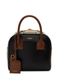 Burberry Beige Small Leather Check Cube Bag