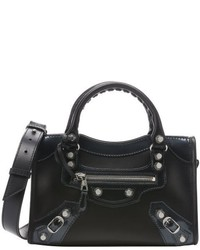 Balenciaga Black Leather Buckle Detail Convertible Mini Tote