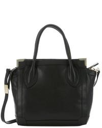 Foley + Corinna Black Leather Framed Mini Convertible Shopper Tote
