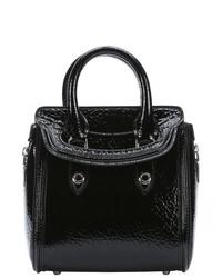 Alexander McQueen Black Patent Leather Heroine Convertible Mini Tote Bag