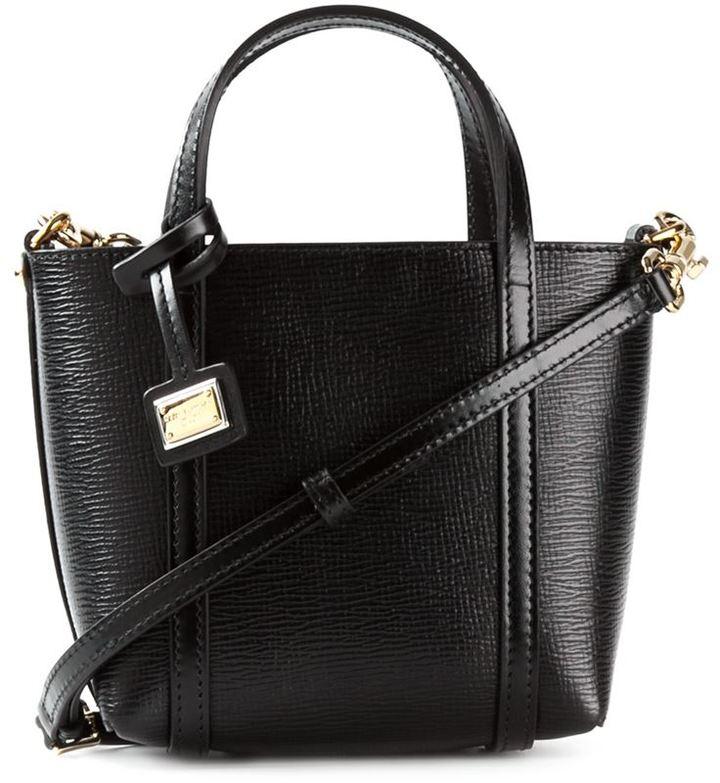 Кожаная женская сумка Dolce Gabbana, черная, арт 069-1