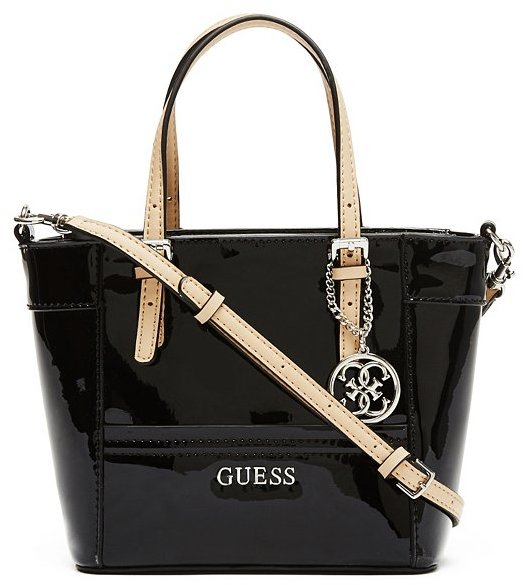 Black Leather Handbags Guess Delaney Patent Mini Tote Where To How Wear