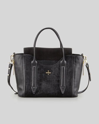 495 Pour La Victoire Provence Embossed Calf Hair Leather Tote Bag Black