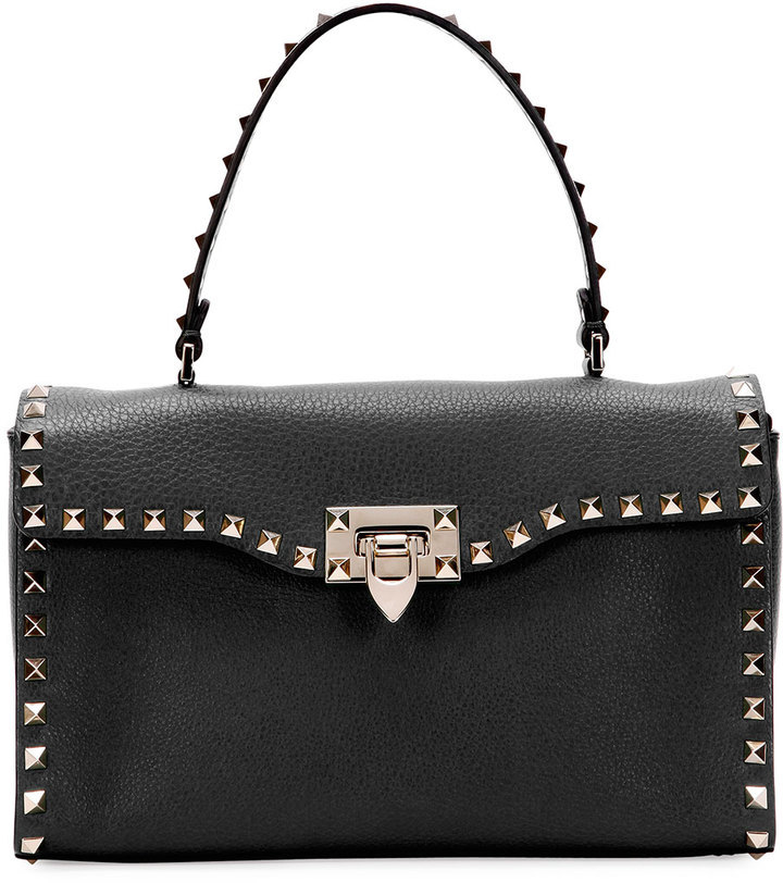 b0a7a7bdc7 ... Leather Handbags Valentino Rockstud Small Single Handle Satchel Bag  Black ...