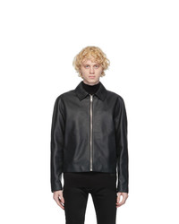 Givenchy Black Leather Laser Logo Jacket
