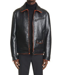 Valentino Giubbino Textured Faux Leather Bomber Jacket