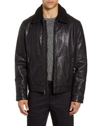 Cole Haan Leather Aviator Jacket