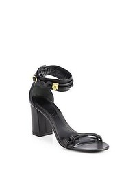 Alexander McQueen Leather Block Heel Sandals Black