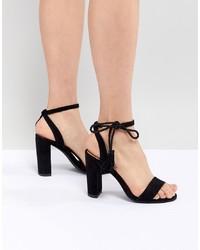 New Look Ankle Tie Block Heeled Sandals