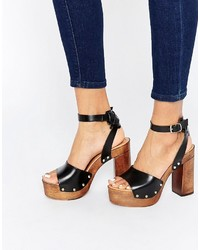 Asos Collection Timer Leather Heeled Sandals