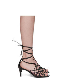 Stella McCartney Black Faux Leather Wraparound Heeled Sandals