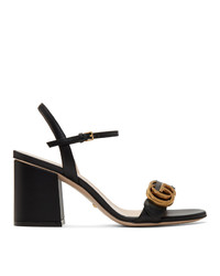 Gucci Black Gg Heeled Sandals
