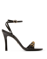 Gucci Black Horsebit Chain Heeled Sandals