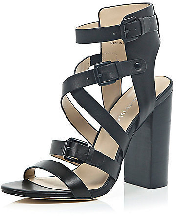 e362d17833c ... River Island Black Leather Strappy Block Heel Sandals