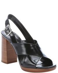 Prada Black Patent Leather Heel Sandals