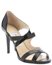 Jimmy Choo Black Patent Leather Valance Strappy Sandals