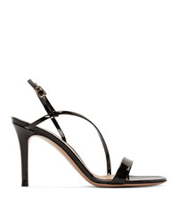 Gianvito Rossi Black Patent Manhattan Py 85 Sandals
