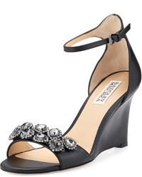 Badgley Mischka Clear Crystal Leather Dressy Sandal Black