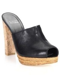Stuart Weitzman Cork Heeled Leather Mule Sandals