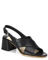 Prada Crisscross Leather Block Heel Slingbacks