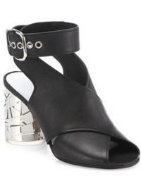 Maison Margiela Crisscross Leather Laser Cut Heel Sandals