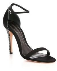 Alexander McQueen Crystal Heel Velvet Sandals