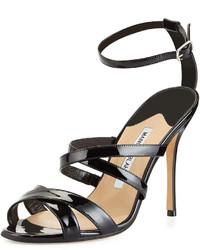 Manolo Blahnik Eremito Patent Leather Strappy Sandal Black