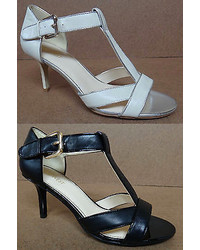 Nine West Fansea T Strap Open Toe Leather Dress Pumps Sandals Shoes Heels