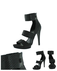 Jessica Simpson Fransi Embossed Leather Heels Sandals