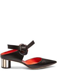 Proenza Schouler Front Tie Block Heel Leather Sandals