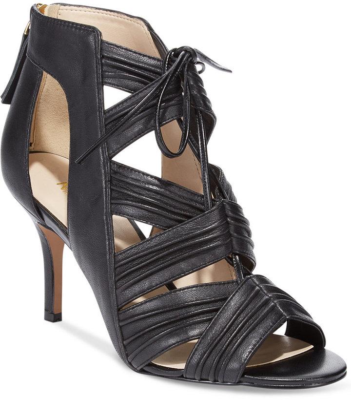 bd41f03c308 ... Black Leather Heeled Sandals Nine West Galaxy Mid Heel Sandals ...