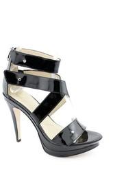 Joan & David Ronella Black Strappy Platforms Sandals Shoes