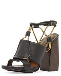 Lanvin Leather Chain Strap Block Heel Sandal Black